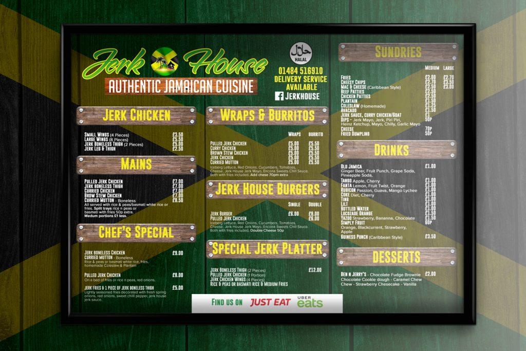 Jerk House Huddersfield menu redesign and branding